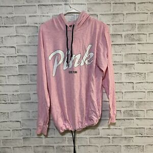 Victoria's Secret Bubble Gum Pink Graphic Hoodie Sweater Size Medium Lounge Comf