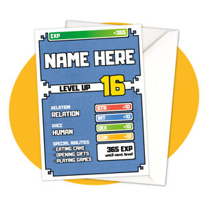 PERSONALISED BIRTHDAY CARD - Level Up! - personalized gamer gaming console rpg