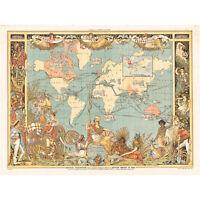 Crane 1886 Pictorial Map British Empire World Large Canvas Art Print
