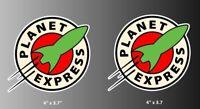"Futurama Planet Express Cartoon Logo Vinyl Decal Bumper Sticker Pair of 4"""