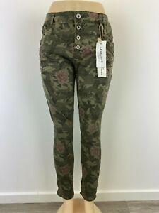 Damen Jeans Lexxury Grün Strass Camouflage Blumen (ähnl. Jewelly & Karostar)