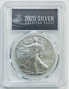 2020 $1 Silver Eagle PCGS MS70 First Day of Issue Black Label
