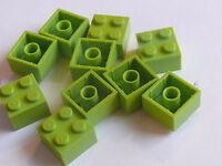 Lego 10 briques vert citron set 10686 9455 41101 5487 / 10 lime bricks 2 x 2