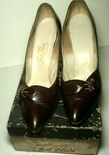 "Vintage 1950's Brown Heels Pumps Size 9Aa Approx. 4"" Heel Orig. Box"
