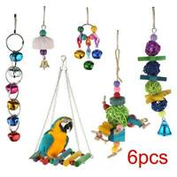6Pc Small Parrot Toys Metal Rope Ladder Stand Budgie Cockatiel Cage Bird Toy Set