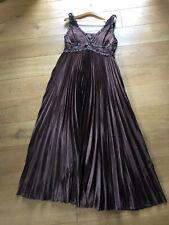 LISSA elegantes Plissee Abendkleid Ballkleid Satin* 38 40 braun Perlen m. Stola