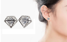 Super Sparkling *Crown* 925 Sterling Silver 1.0 Cts Cubic Zirconia Stud Earring