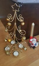 Metal Christmas tree tea light holder X father Xmas Candle Holder x candles also