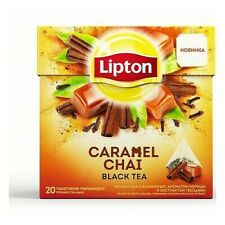 Black tea Lipton Caramel Chai with caramel, cinnamon flavor and clove extract