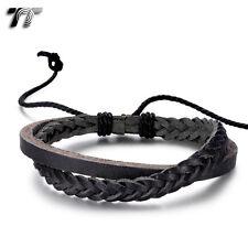 TT Black Genuine Leather Bracelet Wristband (LB305D) NEW Arrival