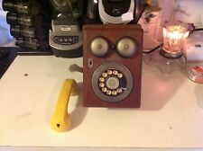 Vintage 80's Western Electric Country Junction Wall Telephone Wood Phone