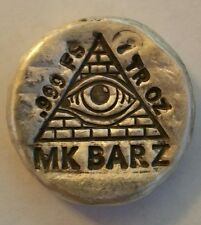 1 oz .999 Silver hand poured all seeing eye freemason illuminate mkbarz the fed