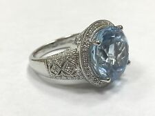 Sterling Silver JSP Blue Topaz Ring with Diamond Accents