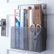 Mesh Silver Metal Pantry Wall Foil Shrink Wrap Caddy Kitchen Holder Organizer