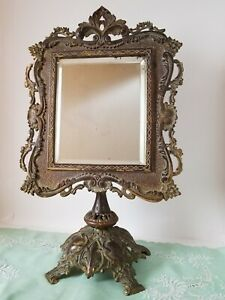 """Antique Victorian Cast Brass Frame Standing Vanity Table Top Beveled Mirror 19"""""""