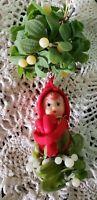Vintage Mid Century Modern Mistletoe Pixie Elf Christmas Decor Japan Knee Hugger