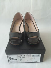 CHANEL Black Patent Leather Open Toe Low Heel Flats Size 38