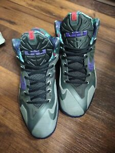 BEATERS* Lebron XI Basketball Shoes Terracota Gray Electric Purple (616175) 11.5