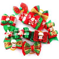 20/200pcs Christmas Dog Hair Bows Rubber Band Xmas Pet Cat Grooming Topknot Bows