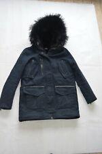 The Kooples Navy Blue Raccoon Fur Hooded Biker Jacket Parka Coat Size 2 S/M 8-10
