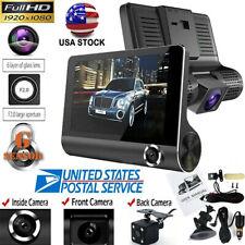 4inch  HD 1080P 3 Lens Car DVR Dash Cam Vehicle Video 170° Recorder Rearview