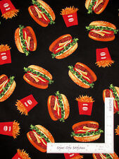 Hamburgers Burgers French Fries Black Cotton Fabric Robert Kaufman - By The Yard