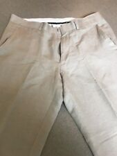 Kenneth Cole Flat Front Beige Linen Blend Suit Pants Men 33 x 32 Pre-Owned