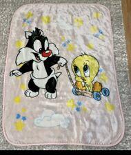 Vintage Baby Looney Tunes Sylvester Tweety RARE 1999 Plush Blanket 42 X 30 Pink