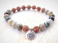 Chakas mala Handmade Wrist 8mm Indian Agate Bracelet Stretchy Meditation Monk
