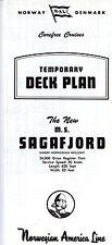 1960s Norwegian America Line SAGAFJORD Deck Plan-Excellent-SSHSA sHiPs WORLDWIDE