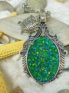Sea Blue Green Druzy Pendant Turtle Charm Necklace Ocean beach Friend Wife Xmas