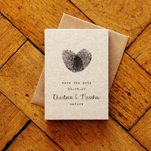 Personalised Fingerprint Calligraphy - Wedding Save the Date or Evening - Rustic