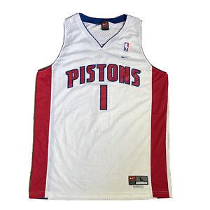Nike NBA Detroit Pistons White Jersey #1 Chauncey BILLUPS Stitched Shirt Men's L