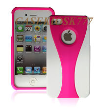 for iphone 4 4s case cover skin white hot pink rubber ized hard + /.,./\