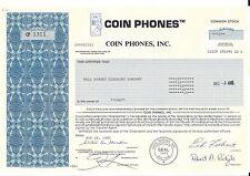 COIN PHONES INC.......1986 STOCK CERTIFICATE