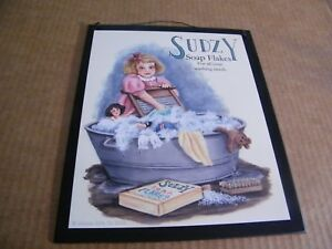 "sudzy LAUNDRY SOAP  Wood Retro Primitive Victorian Laundry Room decor Sign 9x11"""