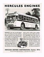 1936 BIG Vintage Hercules Motor Engines Bus Art Print Ad