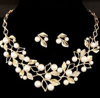 Crystal Pendant Choker Chain Charm Women Bib Statemen Earring Pearl Necklace Set