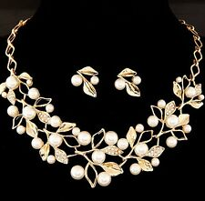Fashoion Women Bib Crystal Pendant Choker Chain Charm Pearl Necklace Set Earring