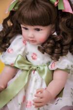 "22"" Reborn Baby Toddler Vinyl Lifelike Princess Girl Doll Curl Hair Toy magic_de"