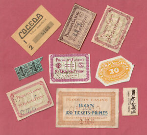 FRANCE - 9 x Bons Primes/Notes/Discount Stamps 1920's- 1050's - Pack#2761- LOOK!