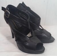 Steve Madden Luxe black strappy high heel shoes womes 7.5