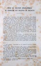 Jean Coppolani : SOLUTION GEOGRAPHIQUE DU PROBLEME DES ORIGINES DE TOULOUSE-1950