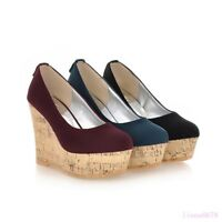 New Women's Platform Wedge high heel Round toe Suede Slip on Casual Pumps shoes