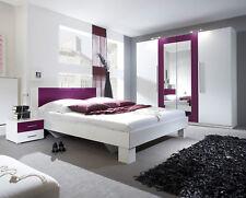 Schlafzimmer Set Komplett 228cm Kleiderschrank Bett 180x200cm weiß / lila 54018