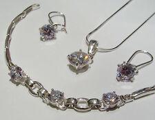 Sólido 925 plata esterlina joyas conjunto pendientes de PULSERA COLGANTE