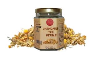 Herbal Chamomile tea petals in glass jar guaranteed quality 1oz.
