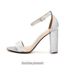 c43d818e076 Mydelicious Open Toe Wedding Party Ankle Strap Glitter Sandals Block Heel  Gaddy