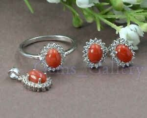 Natural Coral Gems 925 Sterling Silver Ring Earring Pendent Jewelry Set For Her
