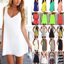 BOHO Damen Sommerkleid Minikleid Freizeit Hemdkleider Strand Party Kleider